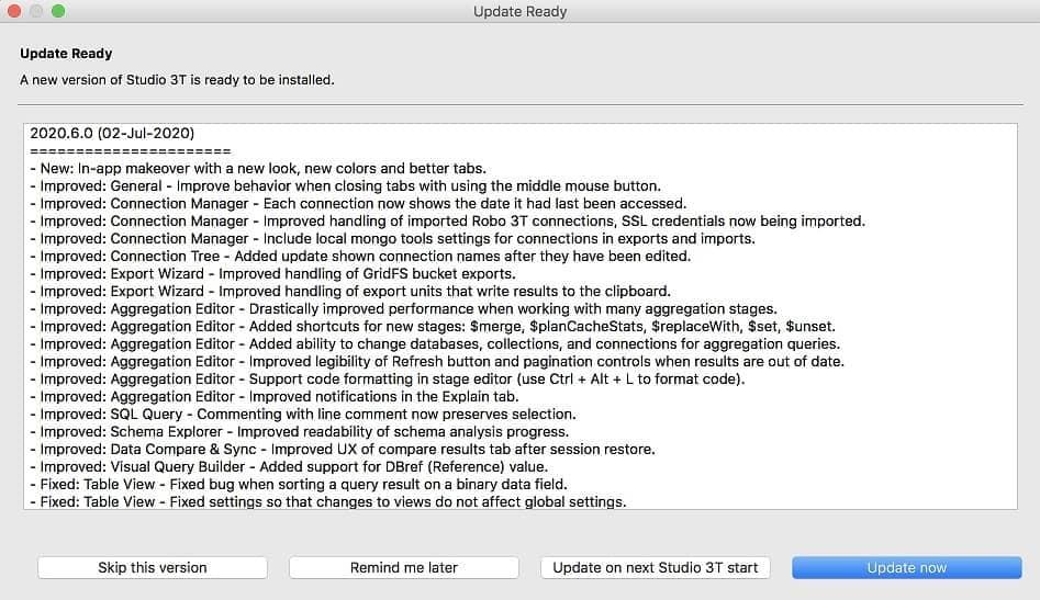 Auto-Updater - Studio 3T MongoDB GUI