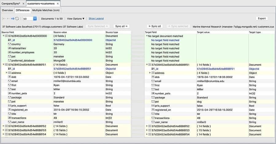 Data Compare and Sync - Studio 3T MongoDB GUI
