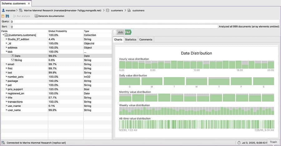 Schema Explorer - Studio 3T MongoDB GUI
