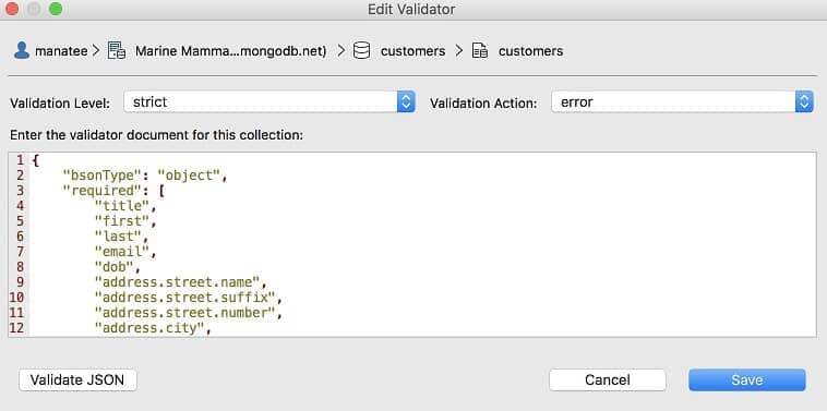 Schema Validator - Studio 3T MongoDB GUI