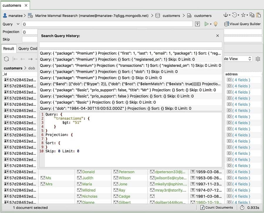 Query History - Studio 3T MongoDB GUI