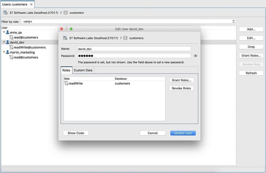 User Manager - Studio 3T MongoDB GUI