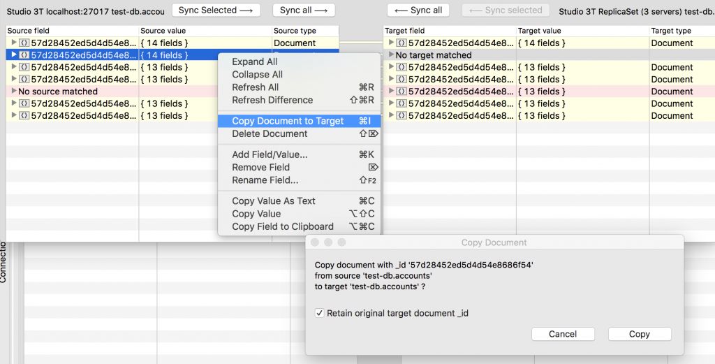 Studio 3T lets you copy the source document to the target MongoDB database easily