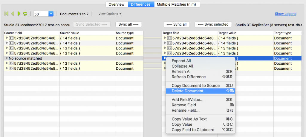 Easily remove documents from your MongoDB data comparison by clicking on Delete Document