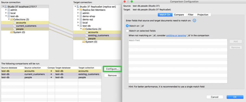 Configure your MongoDB data comparison: decide what fields to match on, what fields to compare, for example.