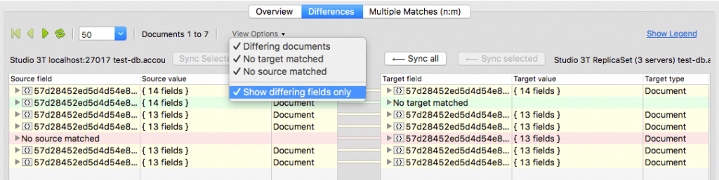 With Studio 3T's Data Compare and Sync, you can choose to only show differing fields for a cleaner overview