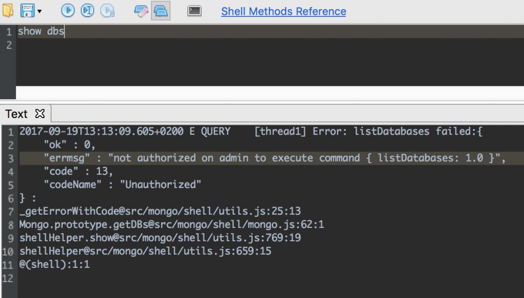 Authorization error on Studio 3T's IntelliShell