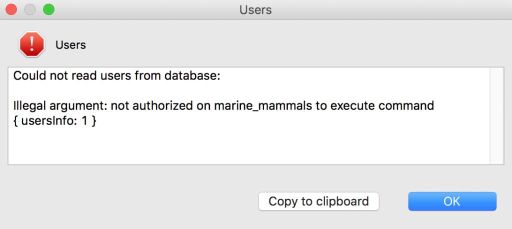 Authorization error when adding users on Studio 3T