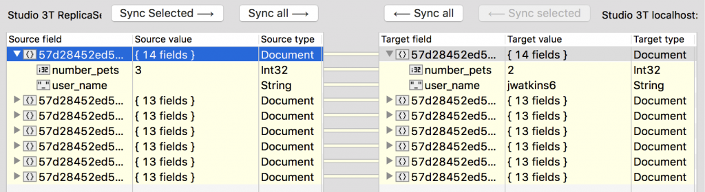 Show only differing fields for a better comparison using Studio 3T's Data Compare and Sync.