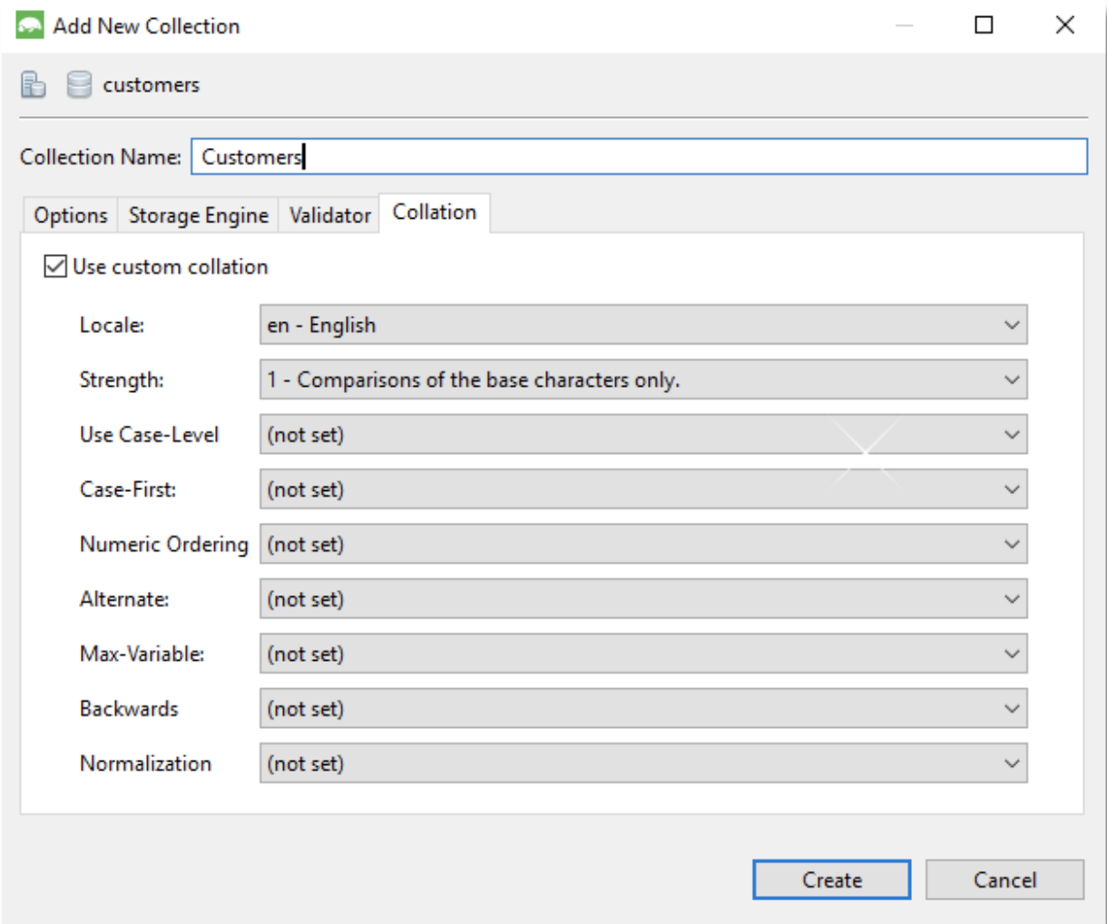 The collation tab when adding a new collection