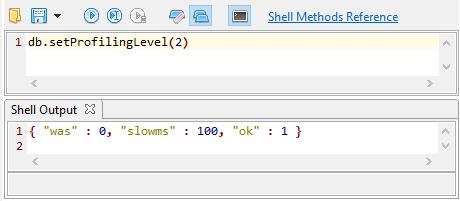 Running the db.getProfilingStatus() command