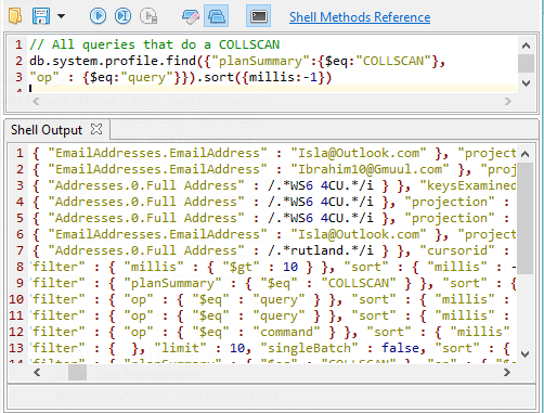 MongoDB query to find all queries doing a COLLSCAN