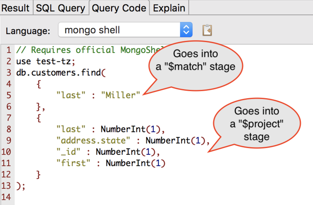 SQL query translated to the MongoDB query language through Studio 3T's Query Code feature