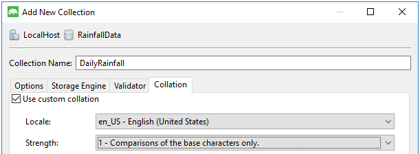 Adding a collection to a new database.