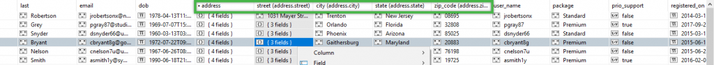 Embedd fields are highlighted here in Table View.