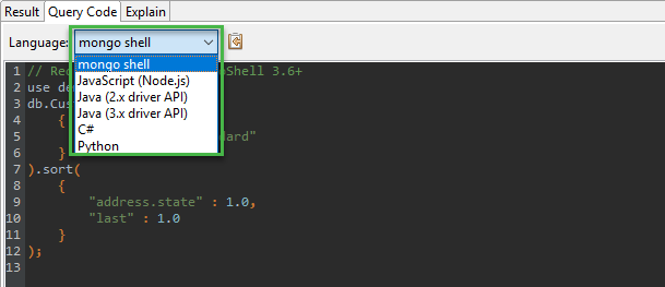 The Query Code tab will display queries in: mongo shell, JavaScript, Java C#, and Python.