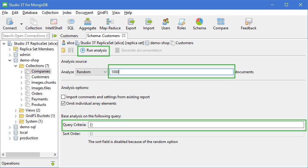 Configure schema analysis