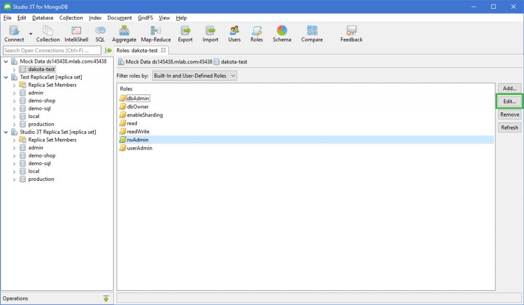 MongoDB GUI Manage MongoDB Roles