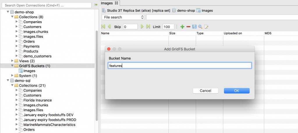 Add GridFS bucket in Studio 3T