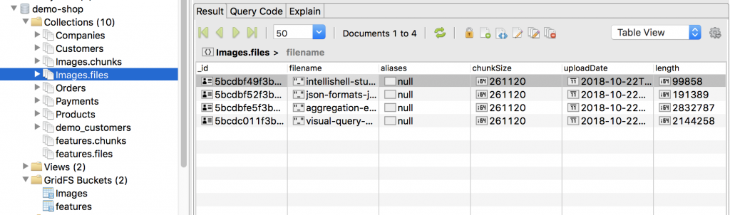 The files collection contains the file metadata