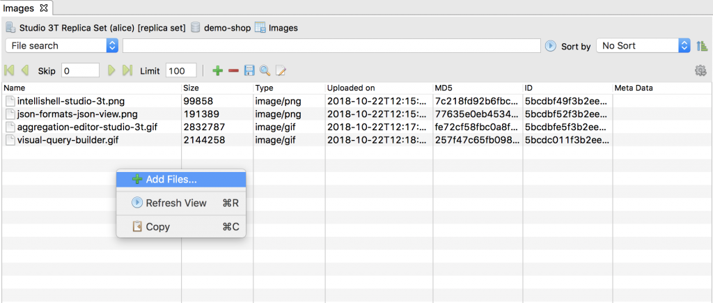 One way to add a file is to right click anywhere in GridFS view