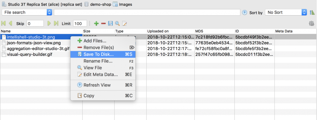 Save GridFS file to disk by right-clicking on a file and choosing Save to Disk