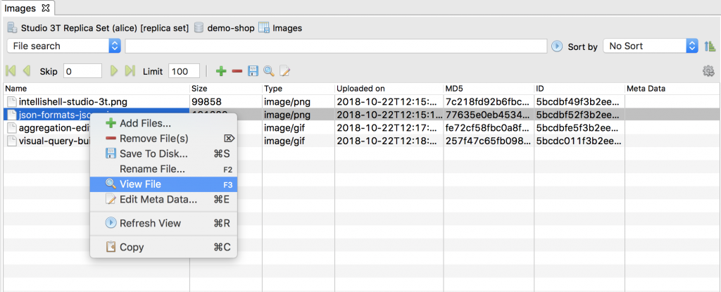 View GridFS file by right-clicking on the item
