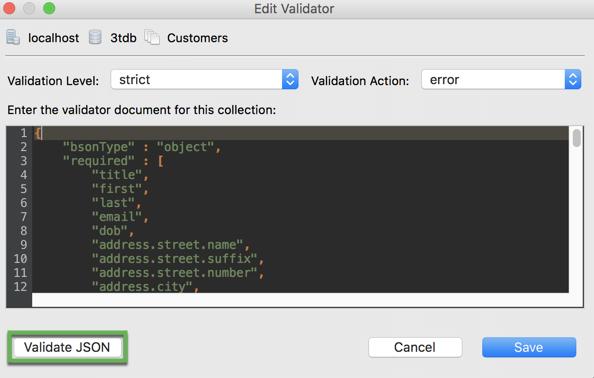 Validate JSON before saving your MongoDB schema