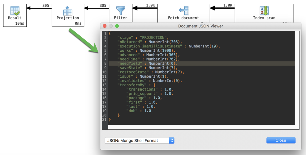 Displays the stage's specific JSON fragment