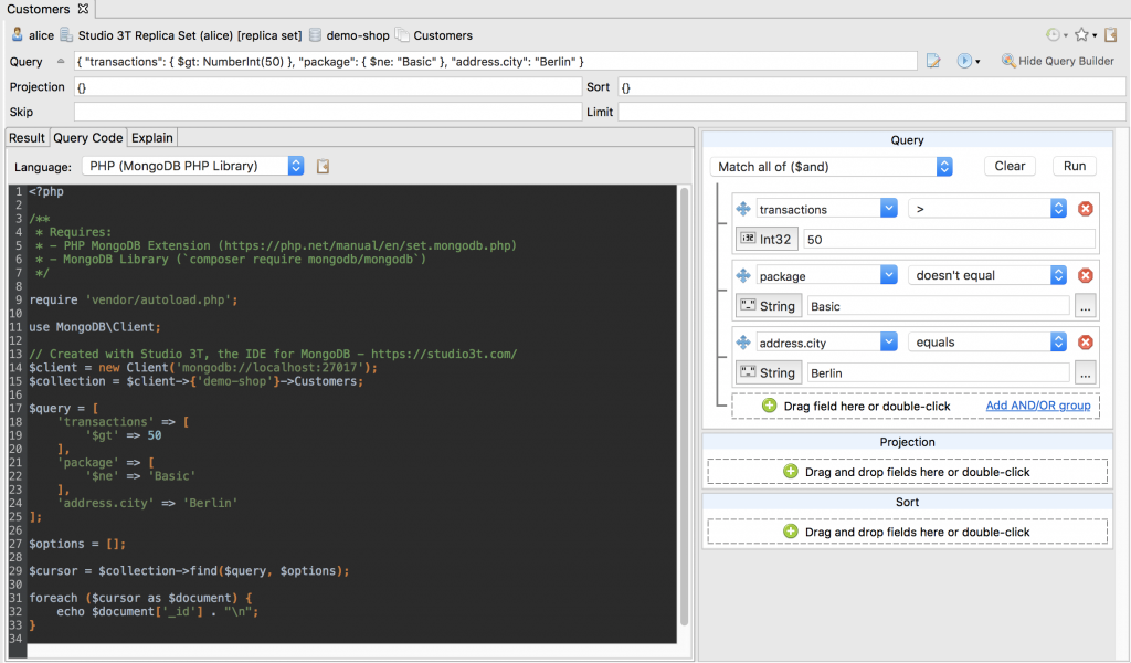 Translate MongoDB to PHP with Studio 3T's Query Code