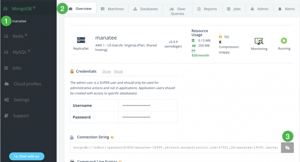 Find your MongoDB connection string in the ScaleGrid console