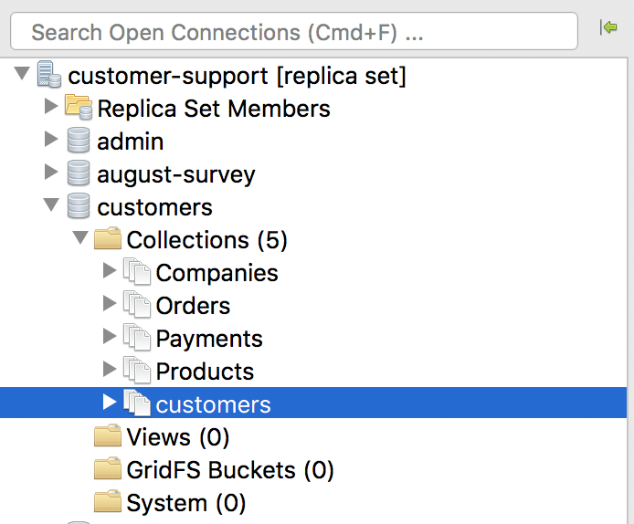 Locate your MongoDB collection in the Connection Tree