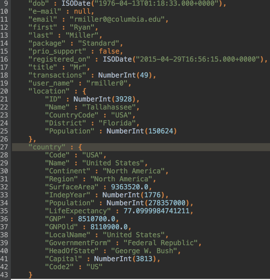 Adding another nested object, which immediately appears in JSON preview