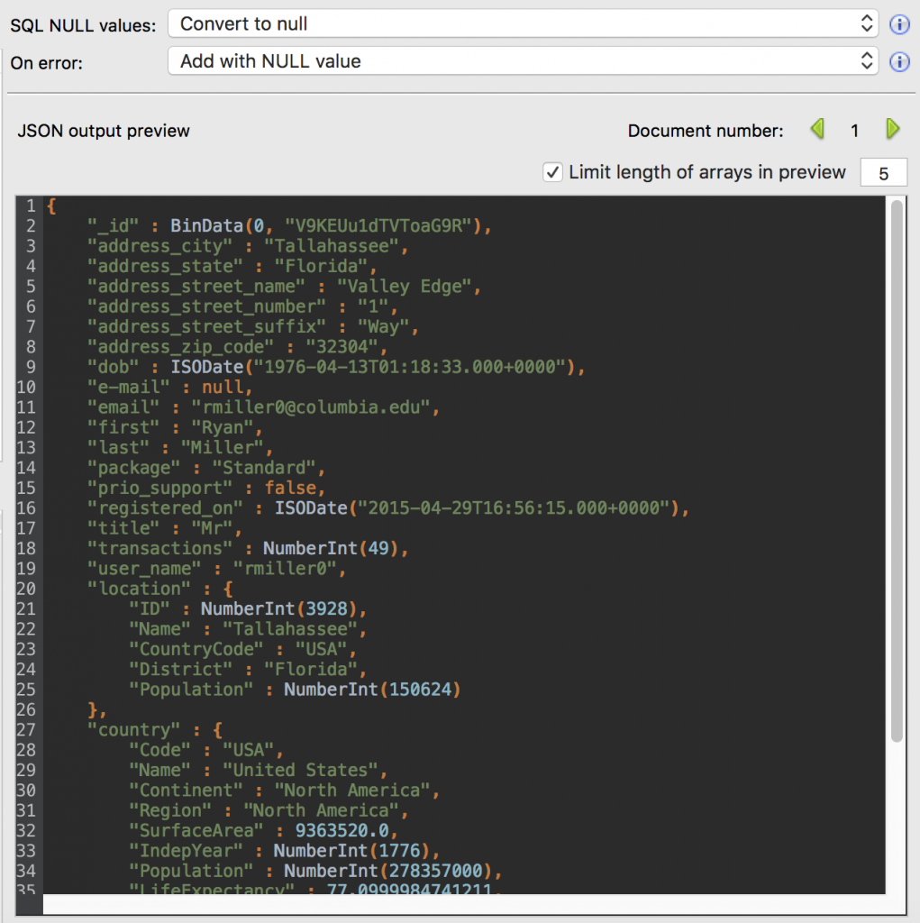 JSON preview of the SQL to MongoDB Migration feature