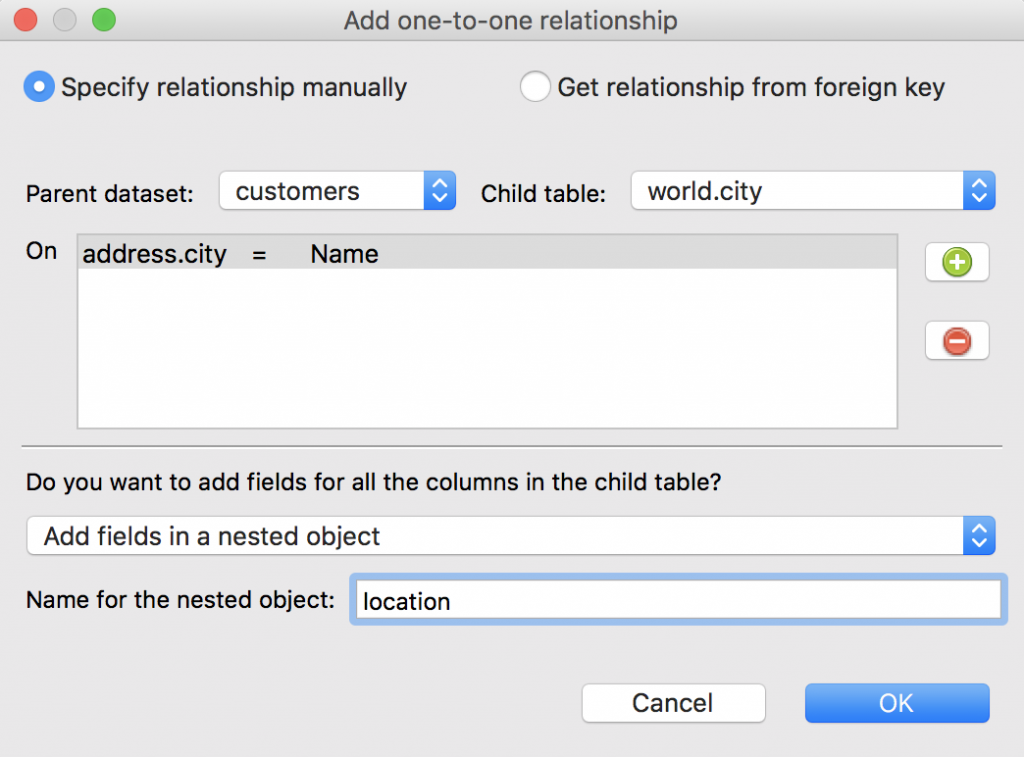 Specify the one-to-one relationship manually