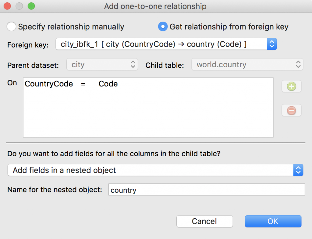 One-to-one relationships from foreign keys