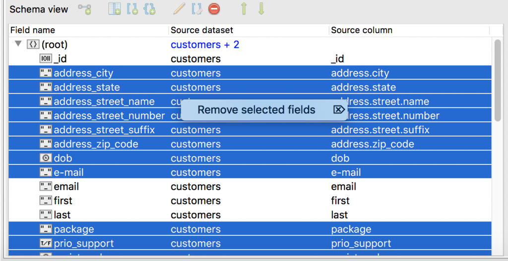 Remove selected fields from the SQL import to MongoDB