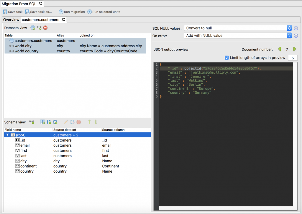 Define SQL to MongoDB mappings in the Studio 3T Import Configuration tab