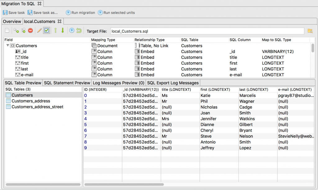SQL Table Preview displays the real-time preview of your configuration changes