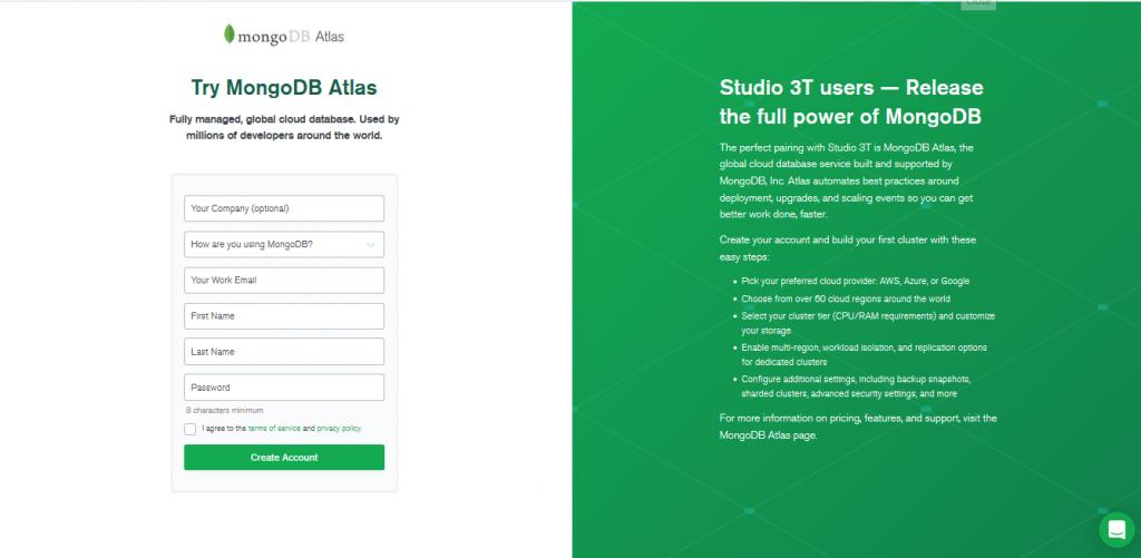 MongoDB Atlas landing page