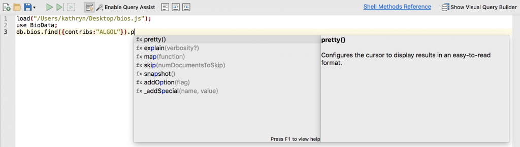 The pretty method displays the results in a more readable format