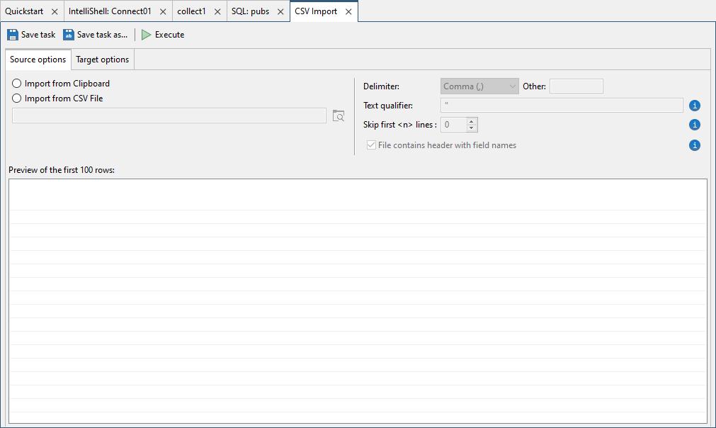CSV import tab