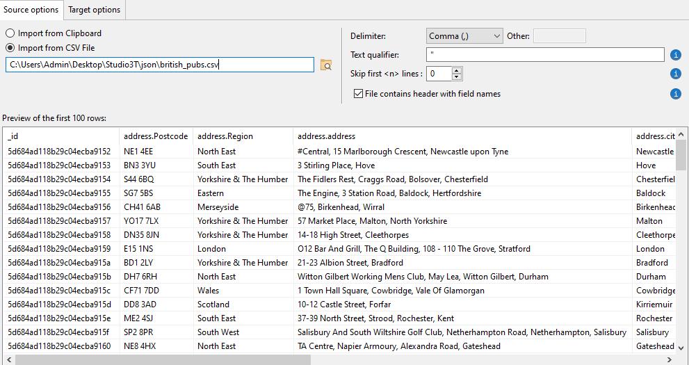 CSV import file