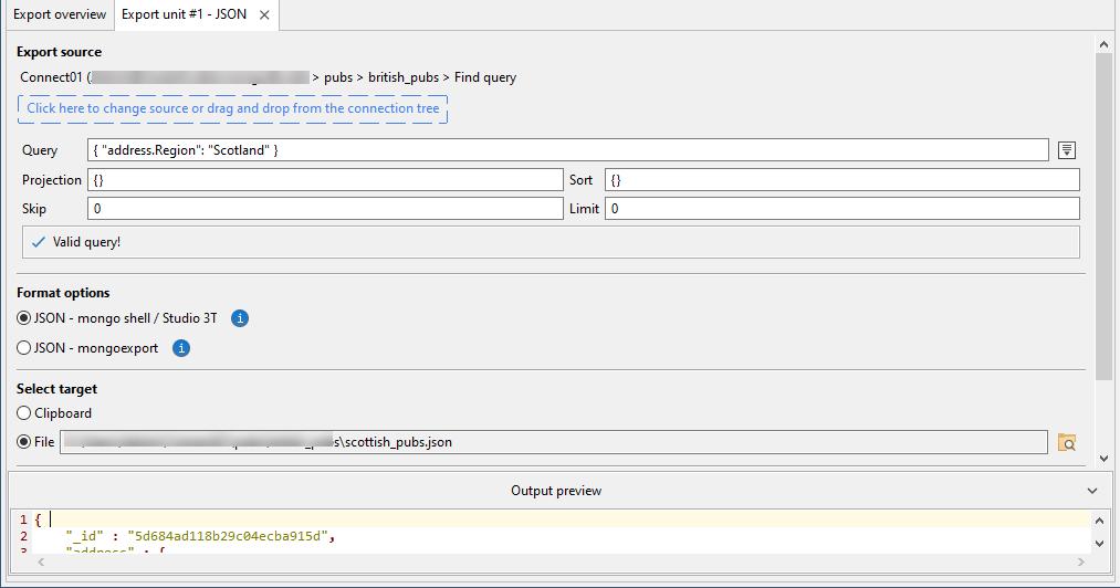 export json tab