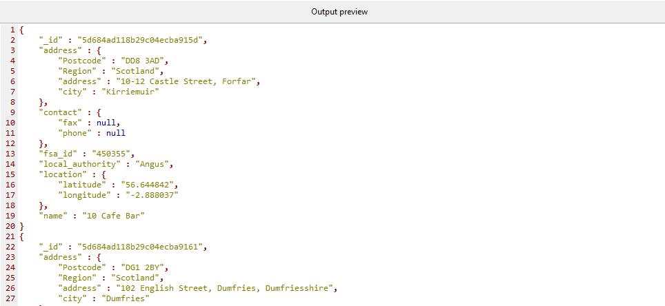 Output preview