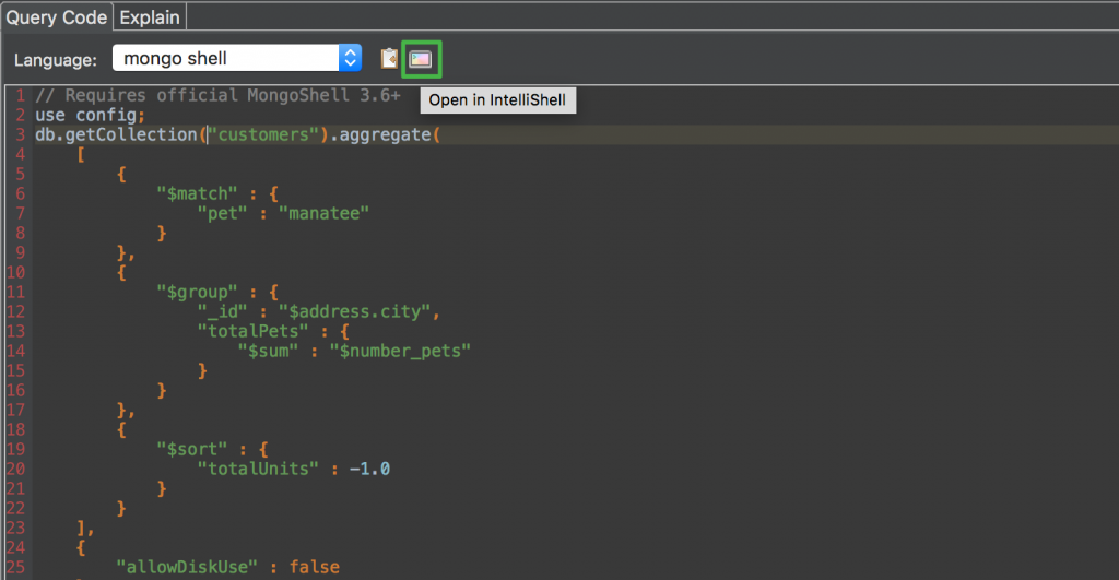 Now you can open the mongo shell code from Query Code directly in IntelliShell