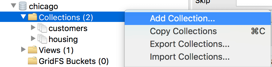 Right-click on a Collections folder to add a collection