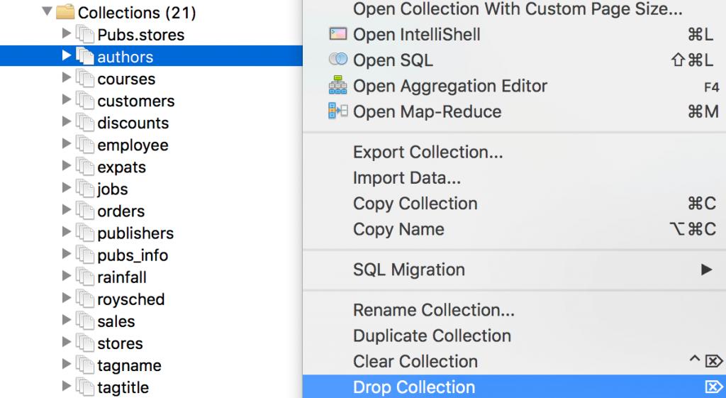Drop a MongoDB collection