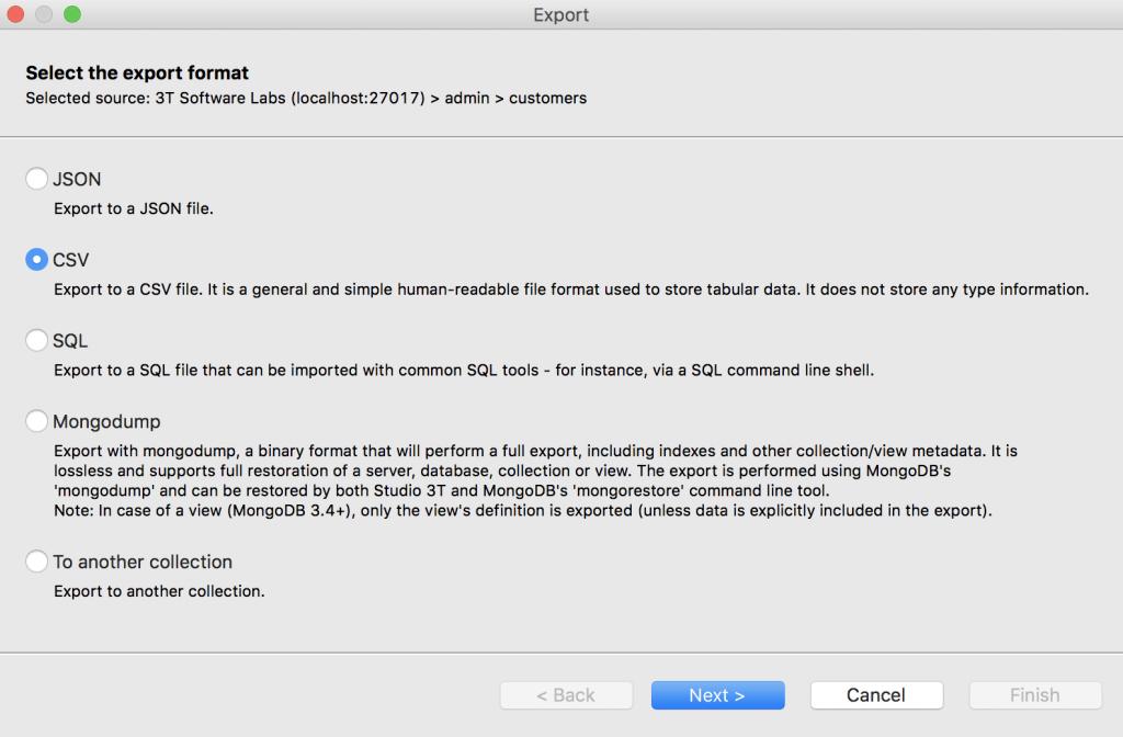 Choose CSV as export format