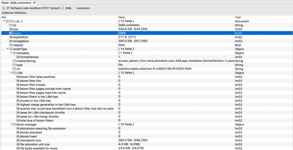 MongoDB collection statistics at a glance